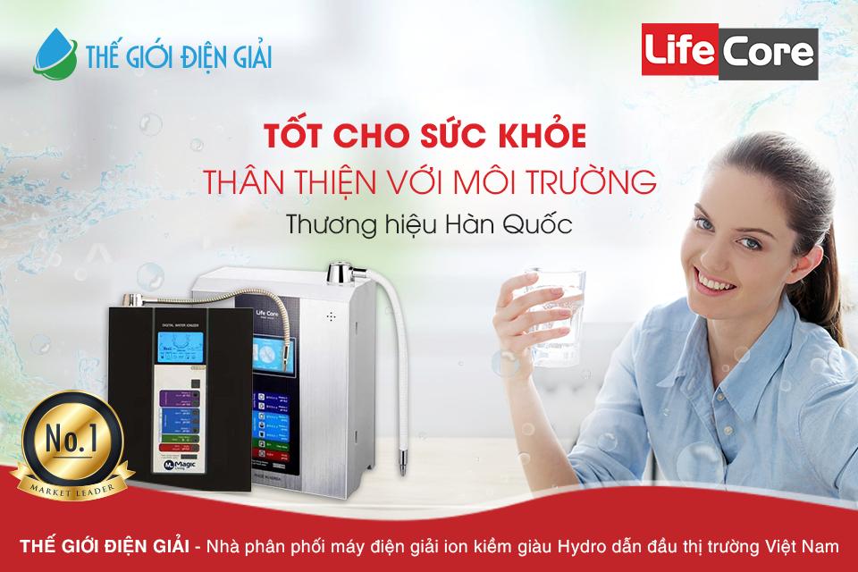 máy lọc nước ion kiềm hàn quốc life core giá bao nhiêu