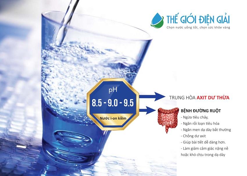 Nước ion kiềm pH 8.5 – 9.0 giúp cơ thể ngừa được bệnh đường ruột