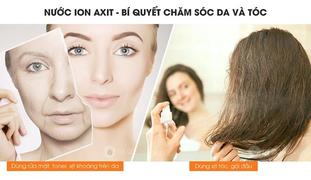 Nước axit yếu pH 5.5 giúp chăm sóc da và tóc