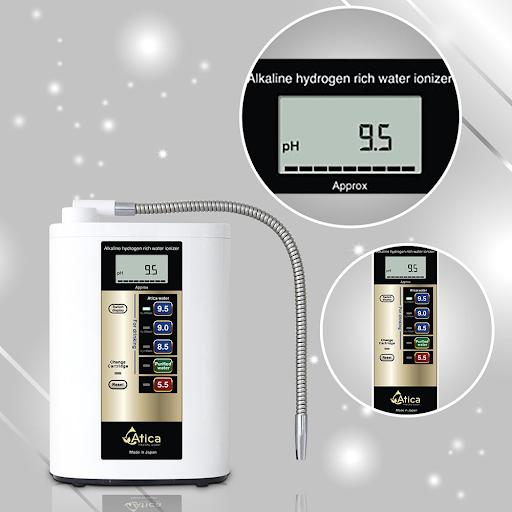 máy lọc nước ion kiềm atica silver hiển thị chỉ số pH và Hydro như thế nào