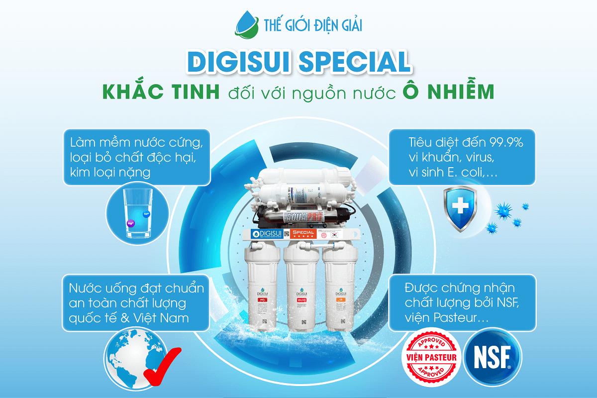 Digisui Special là giải pháp xử lý tối ưu cho mọi nguồn nước dành riêng cho máy lọc nước ion kiềm, đặc biệt là nguồn nước giếng