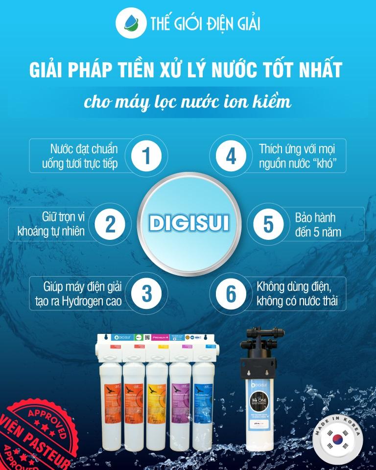 Digisui được các chuyên gia lọc nước đánh giá là bộ tiền xử lý nước đầu vào tốt nhất cho máy lọc nước ion kiềm
