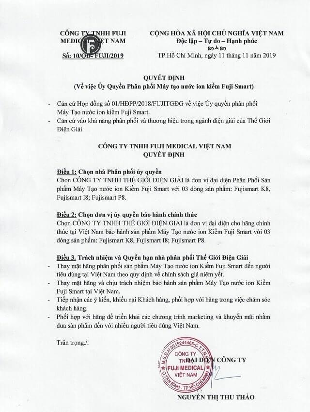 Chứng nhận ủy quyền phân phối chính hãng từ Tập đoàn Fuji Nhật Bản Việt Nam