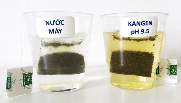 Thí nghiệm pha trà ở nhiệt độ thường, bên trái là ly nước máy, bên phải là ly nước Kangen pH = 9.5. Ly nước Kangen có màu vàng đậm hơn hẳn và chiết xuất ra nhiều mùi trà, rất thơm.