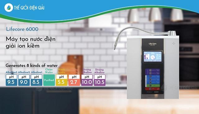 Máy điện giải Lifecore - 6000 tạo ra nhiều loại nước quý với nhiều công dụng khác nhau, liên hệ ngay Thế Giới Điện Giải để được tư vấn và báo giá chính xác nhất.