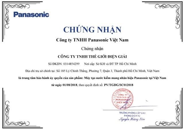 Thế Giới Điện Giải được ủy quyền trở thành Trung Tâm Bảo Hành Duy Nhất tại Việt Nam cho các dòng máy điện giải Panasonic