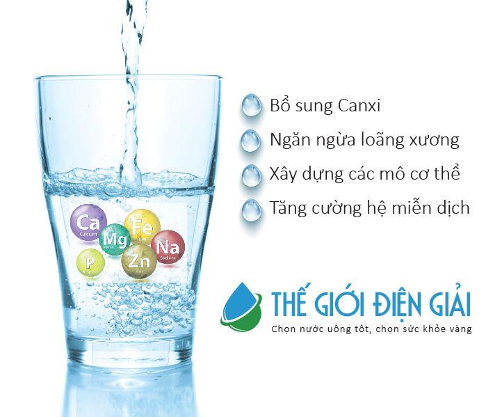 Nước ion kiềm chứa nhiều khoáng chất cần thiết cho cơ thể