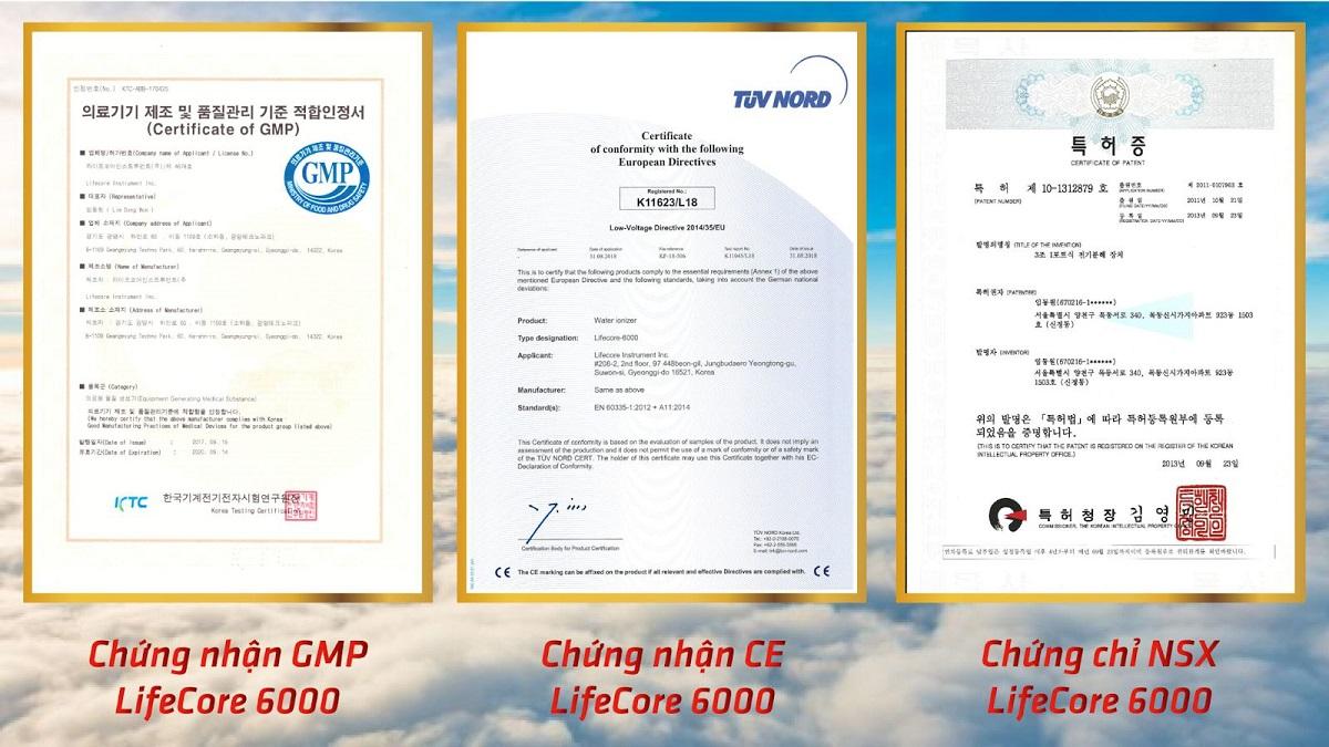 Chứng nhận máy lọc nước ion kiềm Lifecore 6000