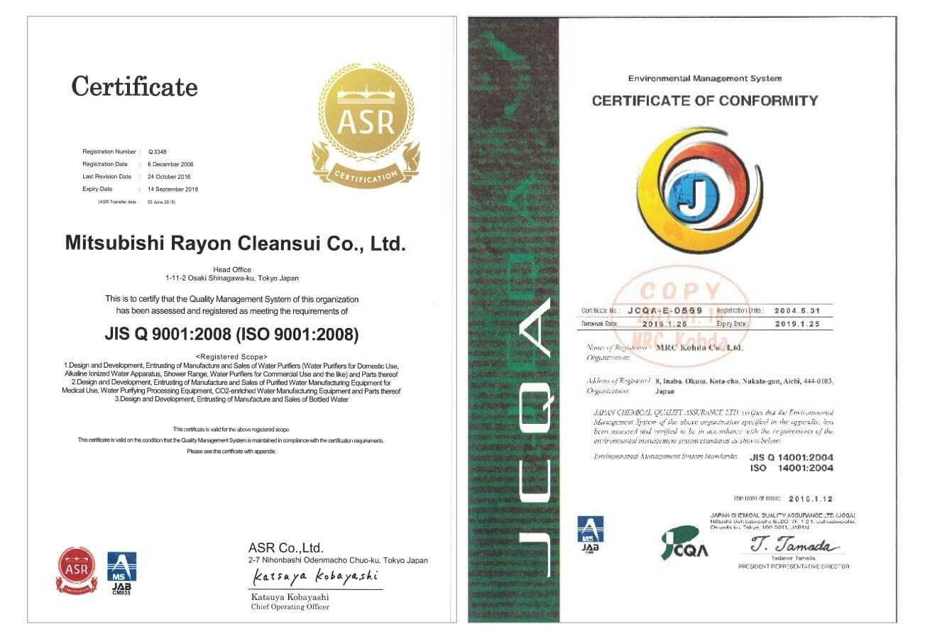 Chứng nhận  ISO 9001-14001 của máy lọc nước ion kiềm Mitsubishi Nhật Bản chính hãng