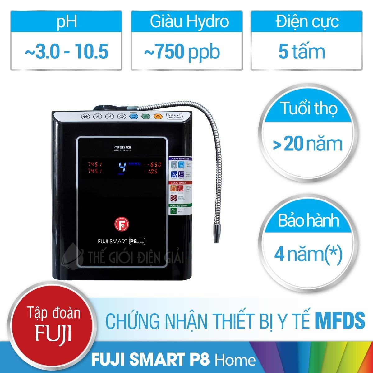 Máy lọc nước ion kiềm Fuji Smart P8 Home chính hãng