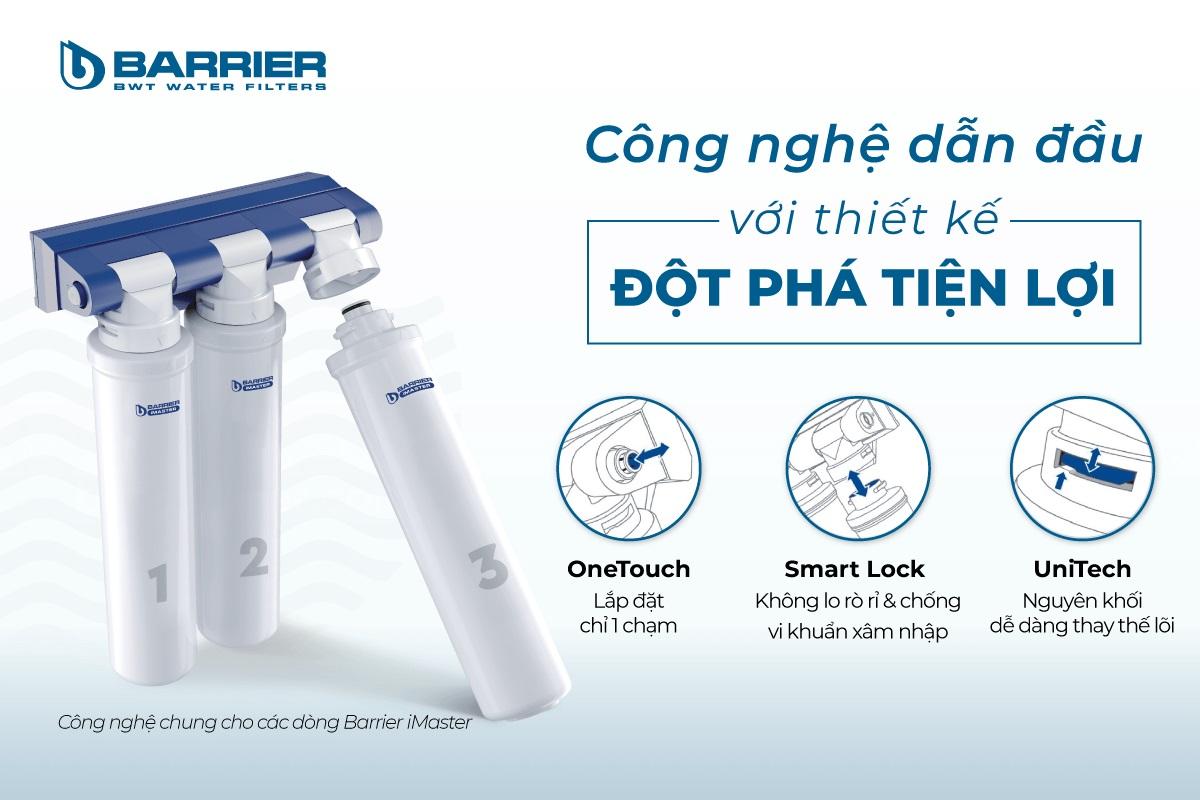 Máy lọc nước BWT Barrier iMaster H thiết kế hiện đại thay lõi lọc dễ dàng không rò rỉ nước