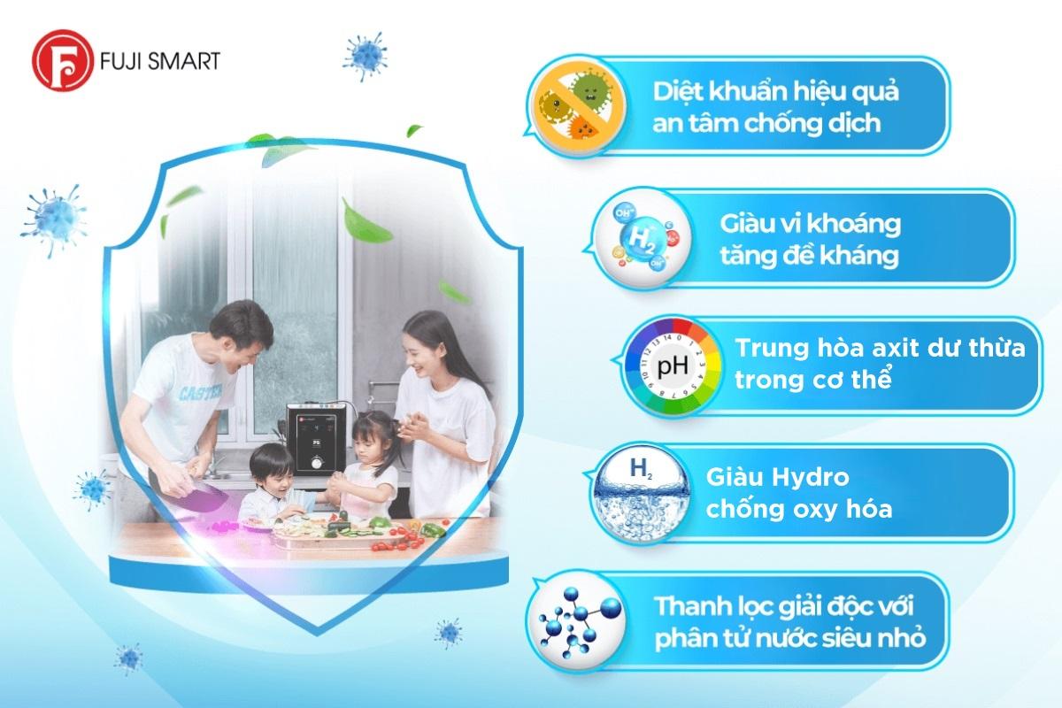 Máy lọc nước ion kiềm Fuji Smart P8 Home mang đến nhiều lợi ích sức khỏe cho người dùng