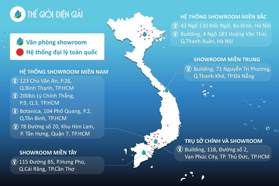 Hệ thống showroom khắp ba miền của Thế Giới Điện Giải
