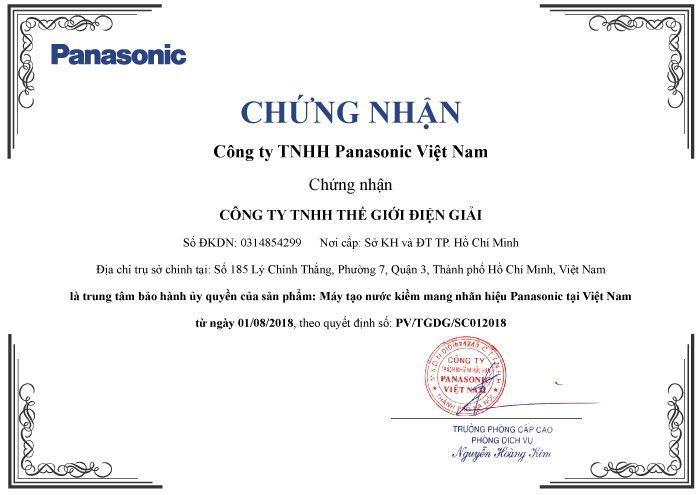 Chứng nhận ủy quyền trung tâm bảo hành chính hãng máy tạo nước ion kiềm từ Panasonic cho Thế Giới Điện Giải