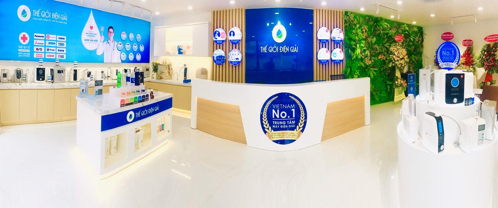 Showroom Thế Giới Điện Giải sang trọng với nhiều loại máy điện giải đến từ các thương hiệu nổi tiếng