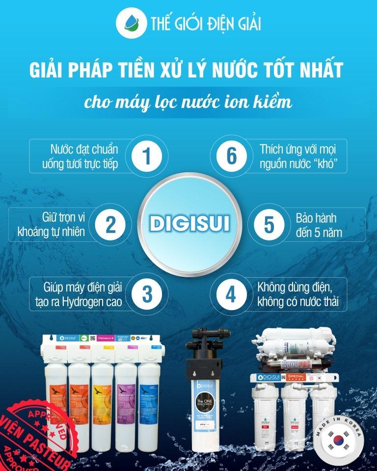 Bộ tiền xử lý Digisui được xem là giải pháp xử lý nước tốt nhất cho máy lọc nước ion kiềm