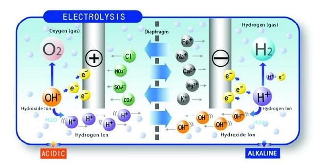 Nước ion kiềm được tạo ra từ cực âm của máy điện giải