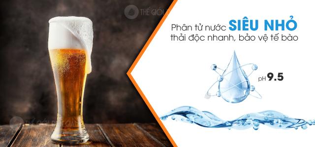 Dùng nước ion kiềm pH 9.5 khi uống rượu, bia