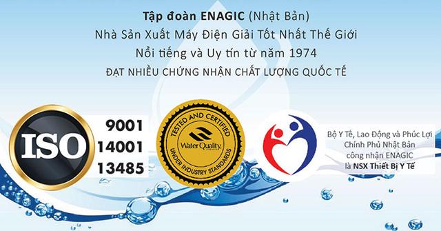 Các chứng nhận uy tín của thương hiệu máy lọc nước ion kiềm kangen Kangen - Enagic