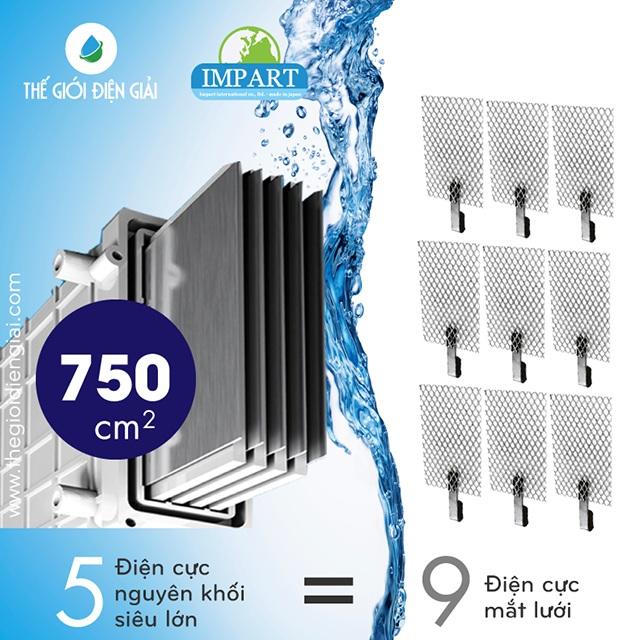 Bể diện cực siêu lớn giúp máy lọc nước chính hãng loại tốt nhất Impart Excel-FX (MX-99) có được hiệu suất điện phân cực tốt