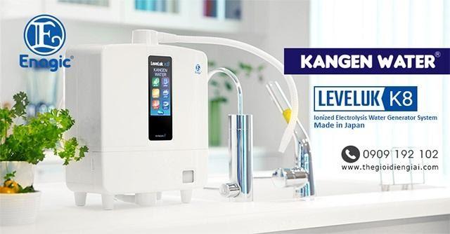 máy lọc nước chính hãng loại tốt nhất Kangen Leveluk K8 – thiết kế nhỏ gọn cùng tông màu trắng nhã nhặn giúp tạo nên sự sang trọng cho gian bếp