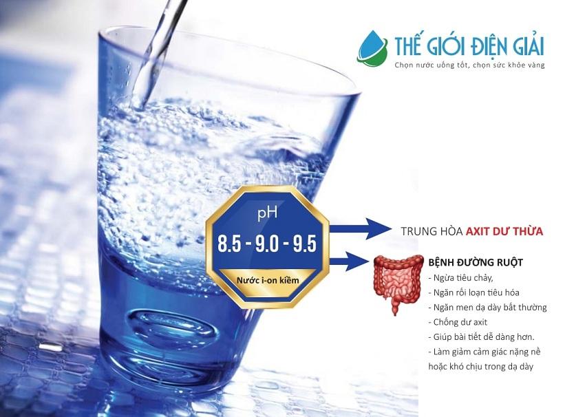 Nước ion kiềm để uống tốt nhất có độ pH 8.0 – 9.5, giúp trung hòa axit dư thừa hiệu quả