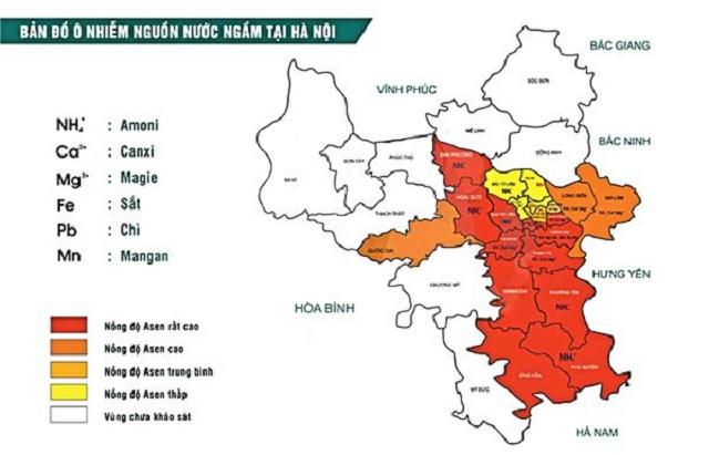 Bản đồ ô nhiềm nguồn nước ngầm tại Hà Nội