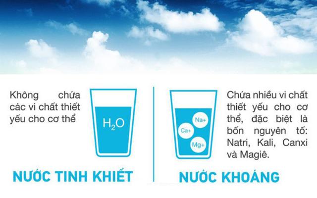 Khác biệt cơ bản nước tinh khiết và nước khoáng