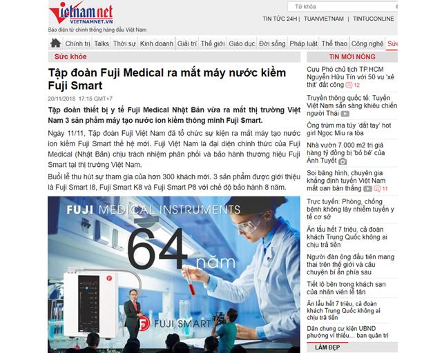 Bài viết được đăng trên mục Sức khỏe của Báo Vietnamnet vào ngày 20/11/2018