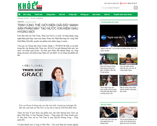 Bài báo được đăng trên Báo Khỏe 365 ngày 20/9/2019