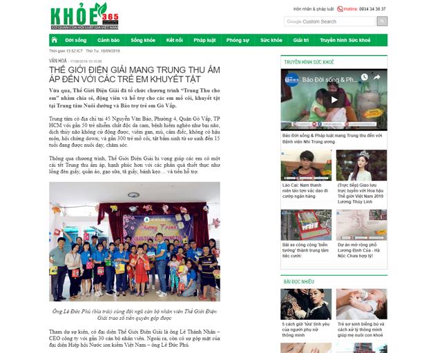 Bài báo được đăng trên báo Khỏe 365 ngày 17/090/2019