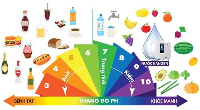Thang đo pH chỉ ra tính axit và tính kiềm của các loại thực phẩm hàng ngày.