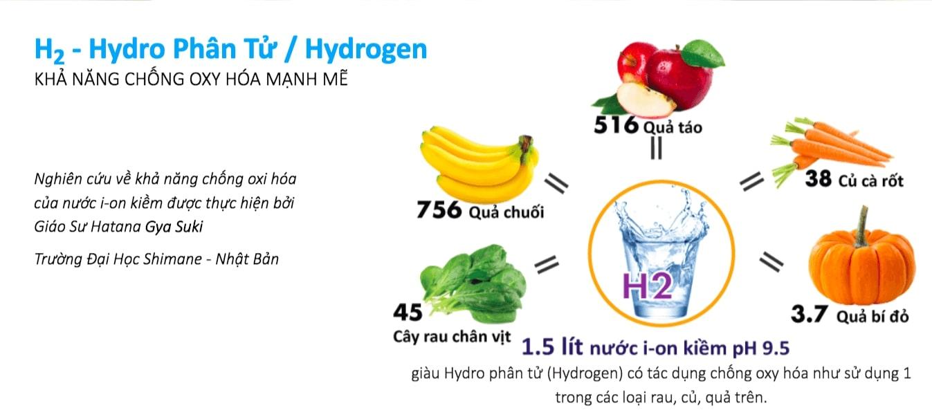 Nước ion kiềm chứa Hydro có tác dụng loại chống oxy hóa mạnh mẽ, loại bỏ các gốc tự do