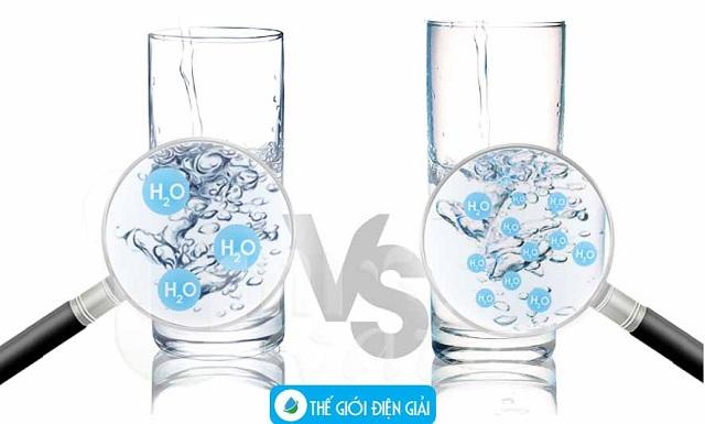 nước điện giải có phân tử nhỏ hơn nước tinh khiết